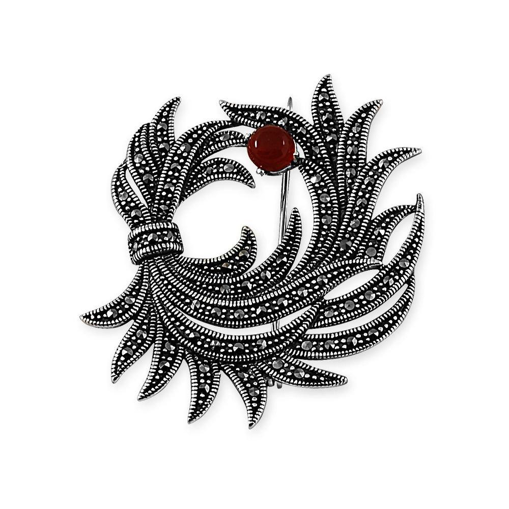 925 Ayar Gümüş Çiçek Demeti Broş