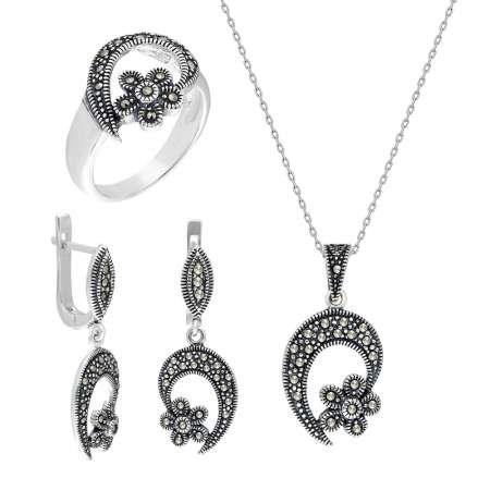 Zirkon Taşlı Çiçek Tasarım 925 Ayar Gümüş 3'lü Takı Seti - Thumbnail