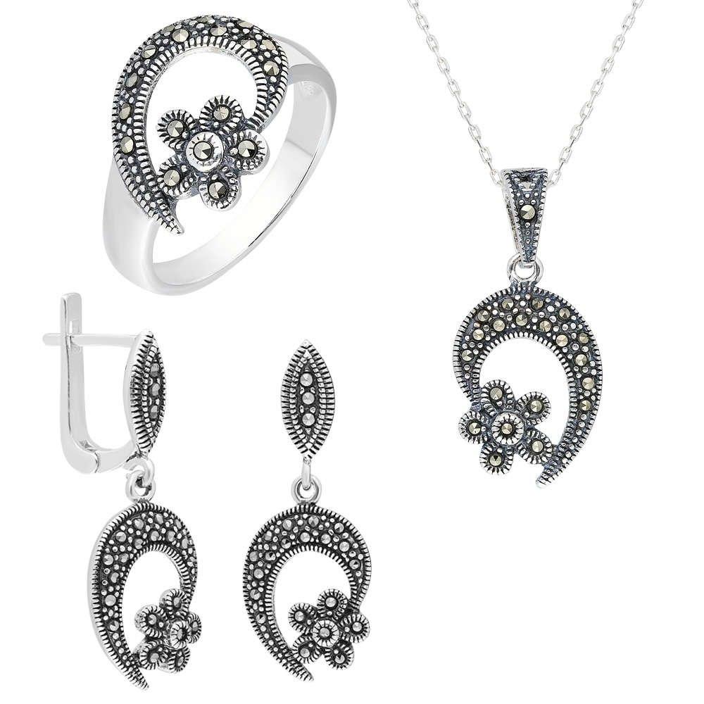 Zirkon Taşlı Çiçek Tasarım 925 Ayar Gümüş 3'lü Takı Seti