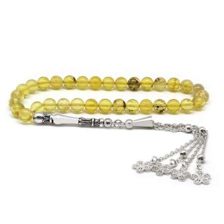 925 Ayar Gümüş Çiçek Püsküllü Küre Kesim Açık Sarı Damla Kehribar Tesbih - Thumbnail