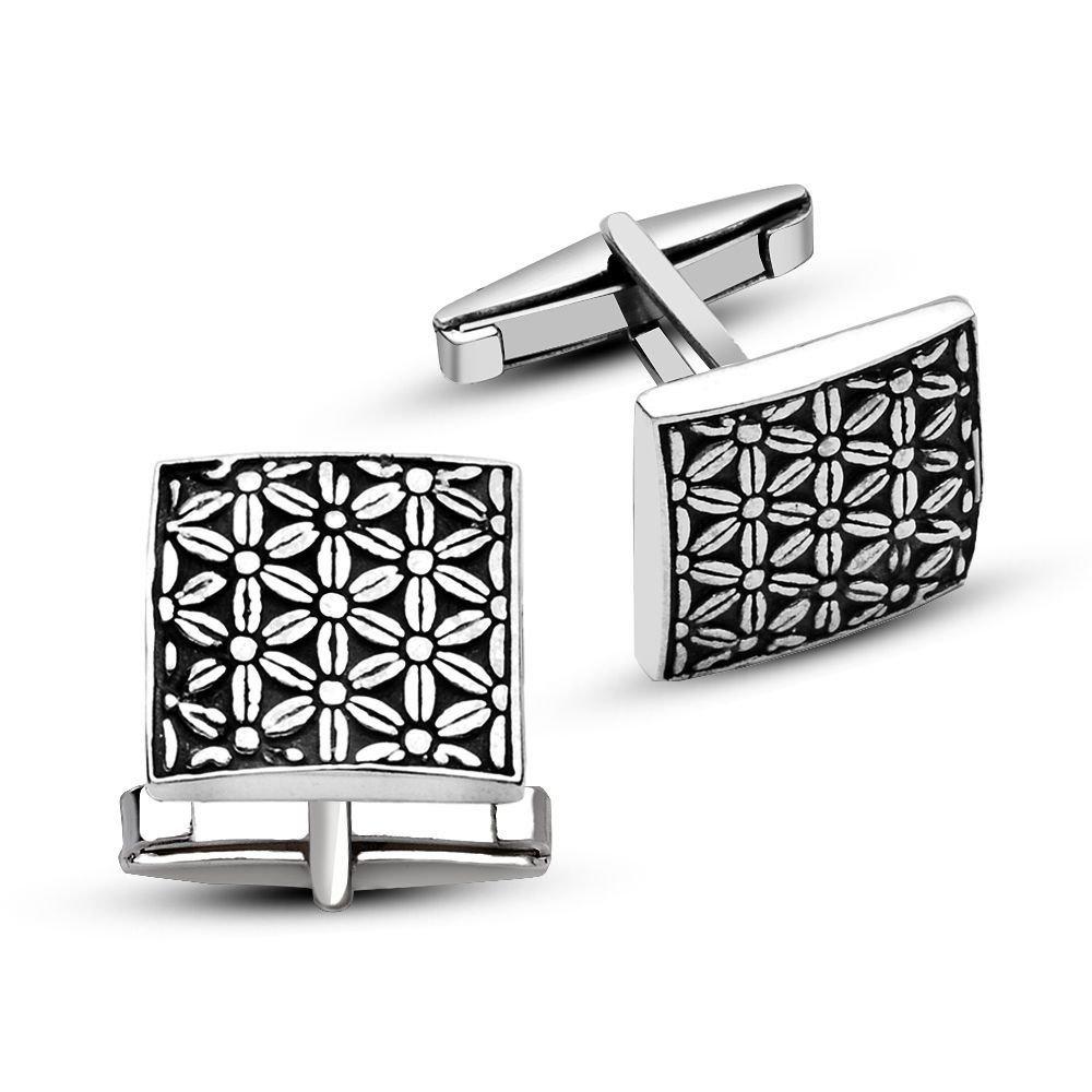 925 Ayar Gümüş Çiçek Tasarımlı Kare Model Kol Düğmesi
