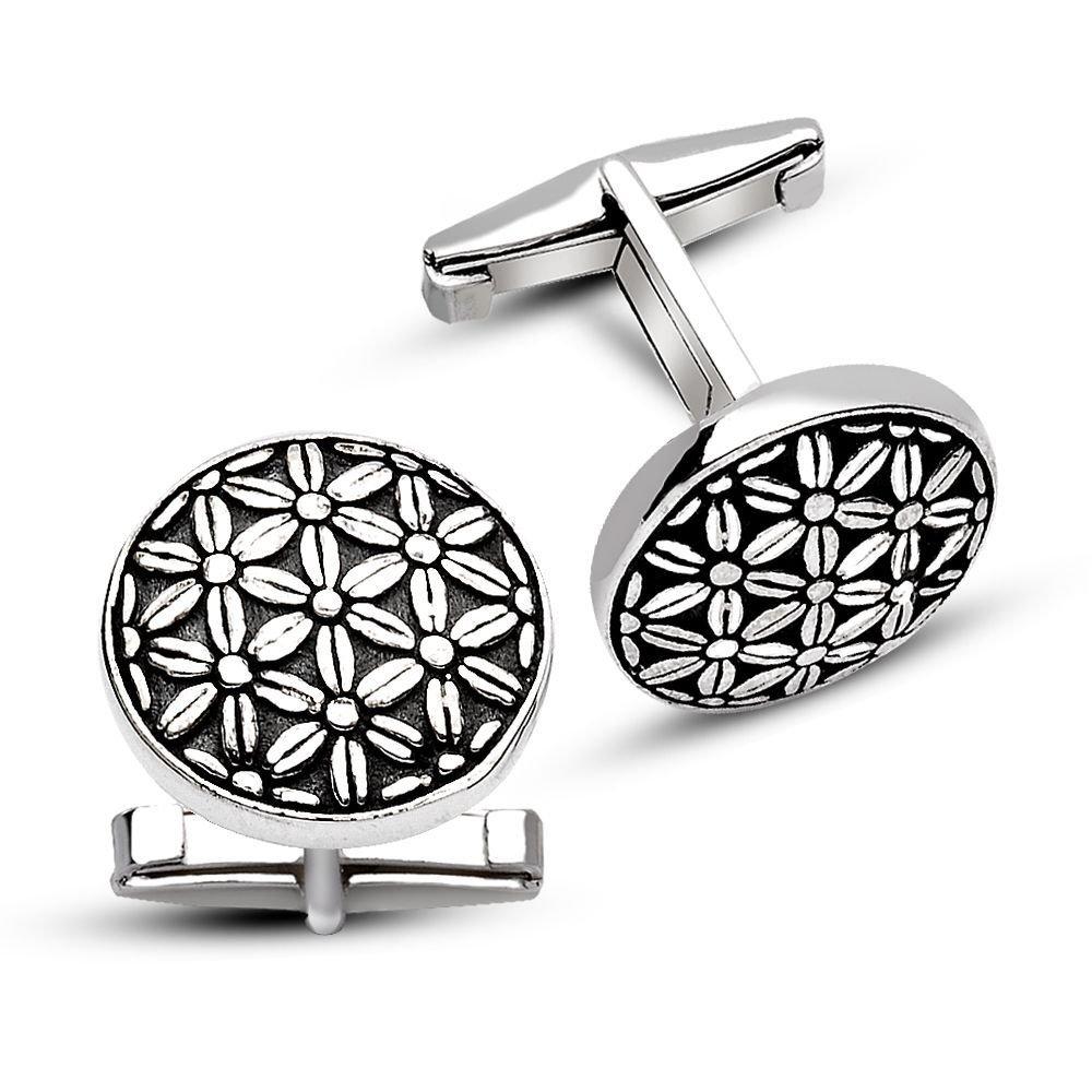 925 Ayar Gümüş Çiçekli Kol Düğmesi
