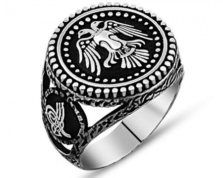 925 Ayar Gümüş Çift Başlı Kartal Yüzük (Model-2) - Thumbnail
