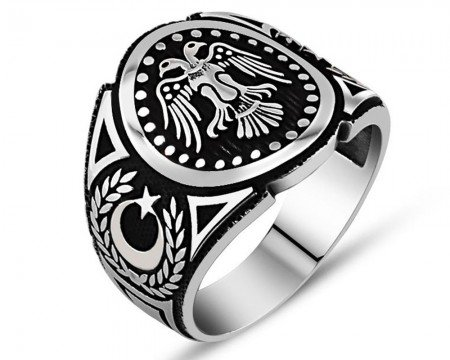 925 Ayar Gümüş Çift Başlı Kartal Yüzük - Thumbnail
