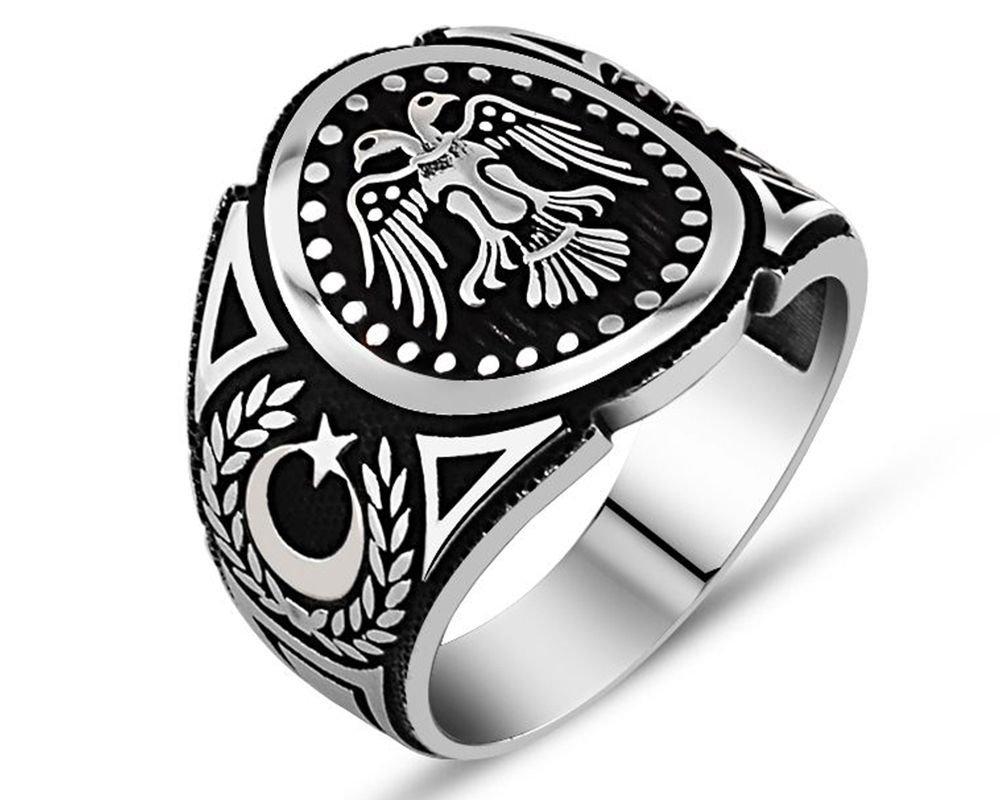 925 Ayar Gümüş Çift Başlı Kartal Yüzük