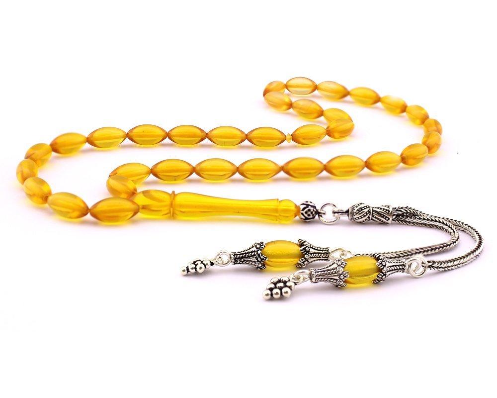 925 Ayar Gümüş Çift Püsküllü Arpa Kesim Sarı Sıkma Kehribar Tesbih (M-1)