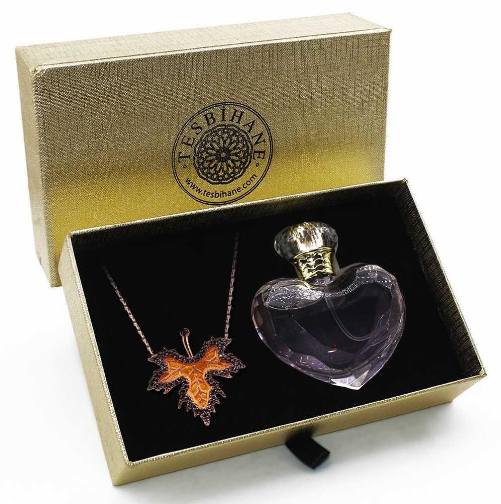 925 Ayar Gümüş Çınar Yaprağı Kolye ve Özel Parfüm Seti