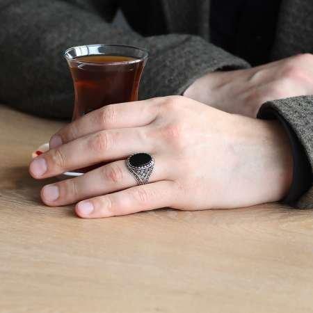 925 Ayar Gümüş Çizgi Desenli Siyah Oniks Taşlı Erkek Yüzük - Thumbnail