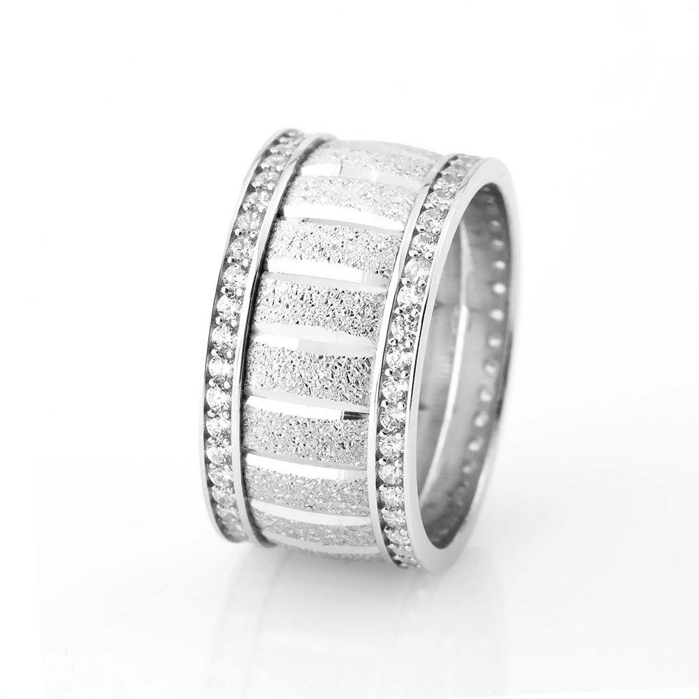 Yatay Blok Tasarım Çift Sıra Zirkon Taşlı 925 Ayar Gümüş Bayan Alyans
