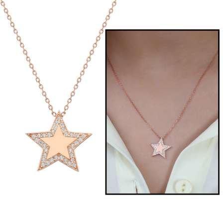 Beyaz Zirkon Taşlı Çoban Yıldızı Tasarım 925 Ayar Gümüş Bayan Kolye - Thumbnail