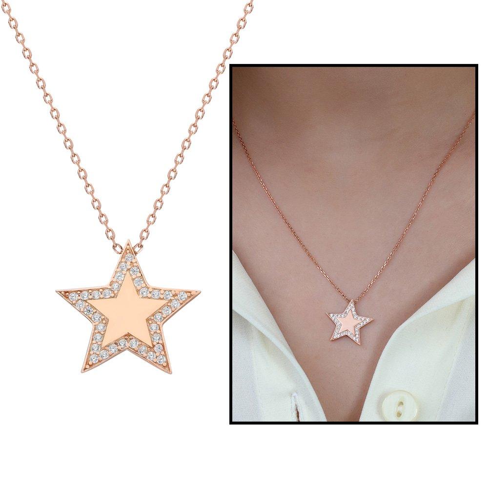 Beyaz Zirkon Taşlı Çoban Yıldızı Tasarım 925 Ayar Gümüş Bayan Kolye