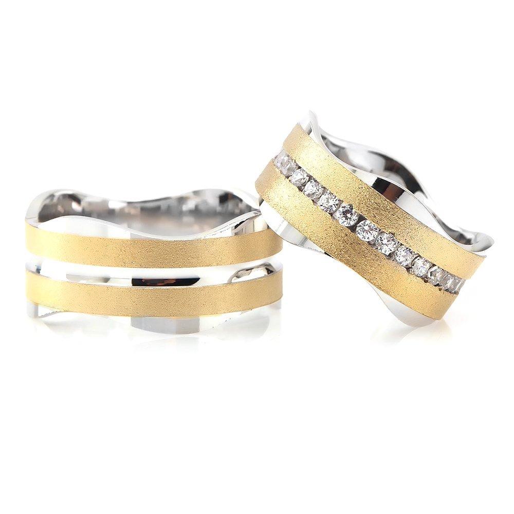Dalgalı Tasarım Çift Şeritli 925 Ayar Gümüş Çift Alyans