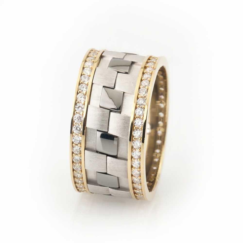 Damalı Tasarım Zirkon Taş İşlemeli 925 Ayar Gümüş Bayan Alyans