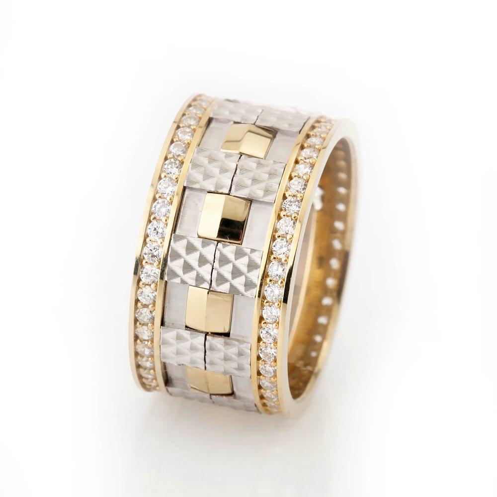 Damalı Tasarım Zirkon Taşlı Gri-Gold Renk 925 Ayar Gümüş Bayan Alyans
