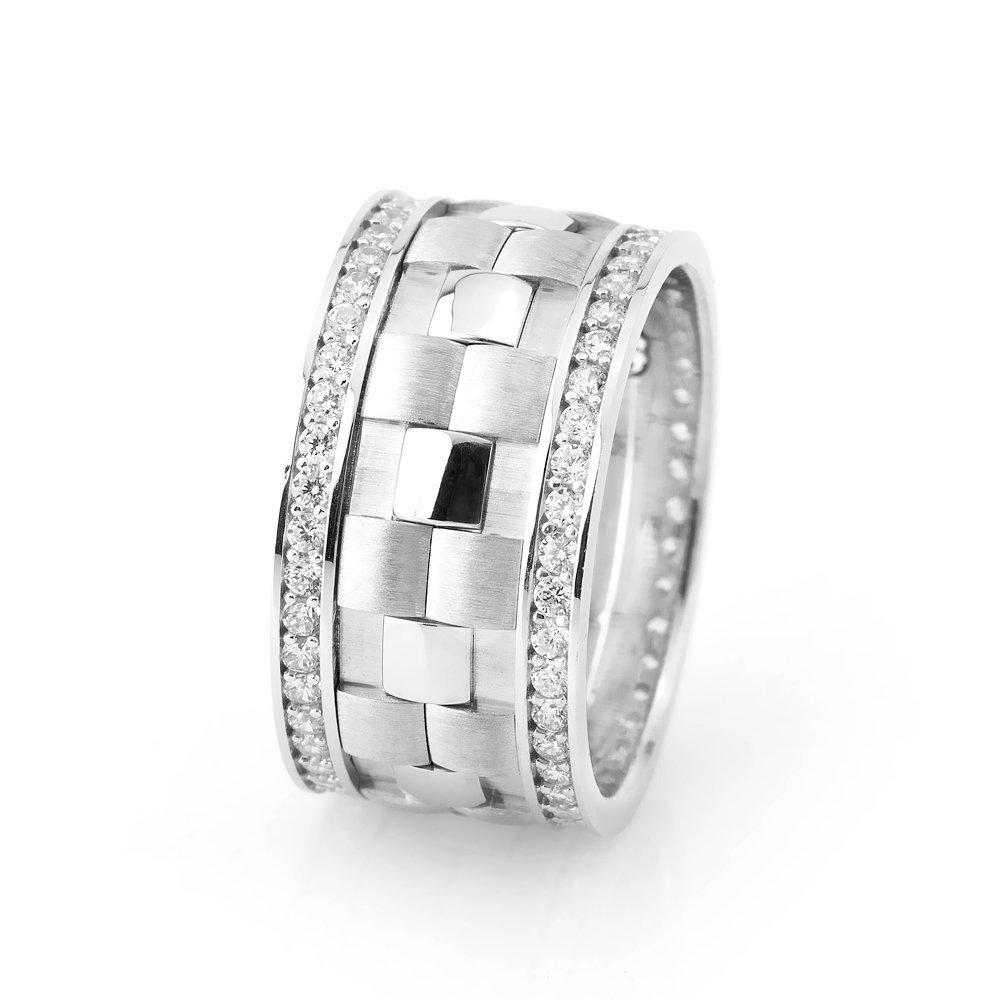Damalı Tasarım Çift Sıra Zirkon Taşlı 925 Ayar Gümüş Bayan Alyans