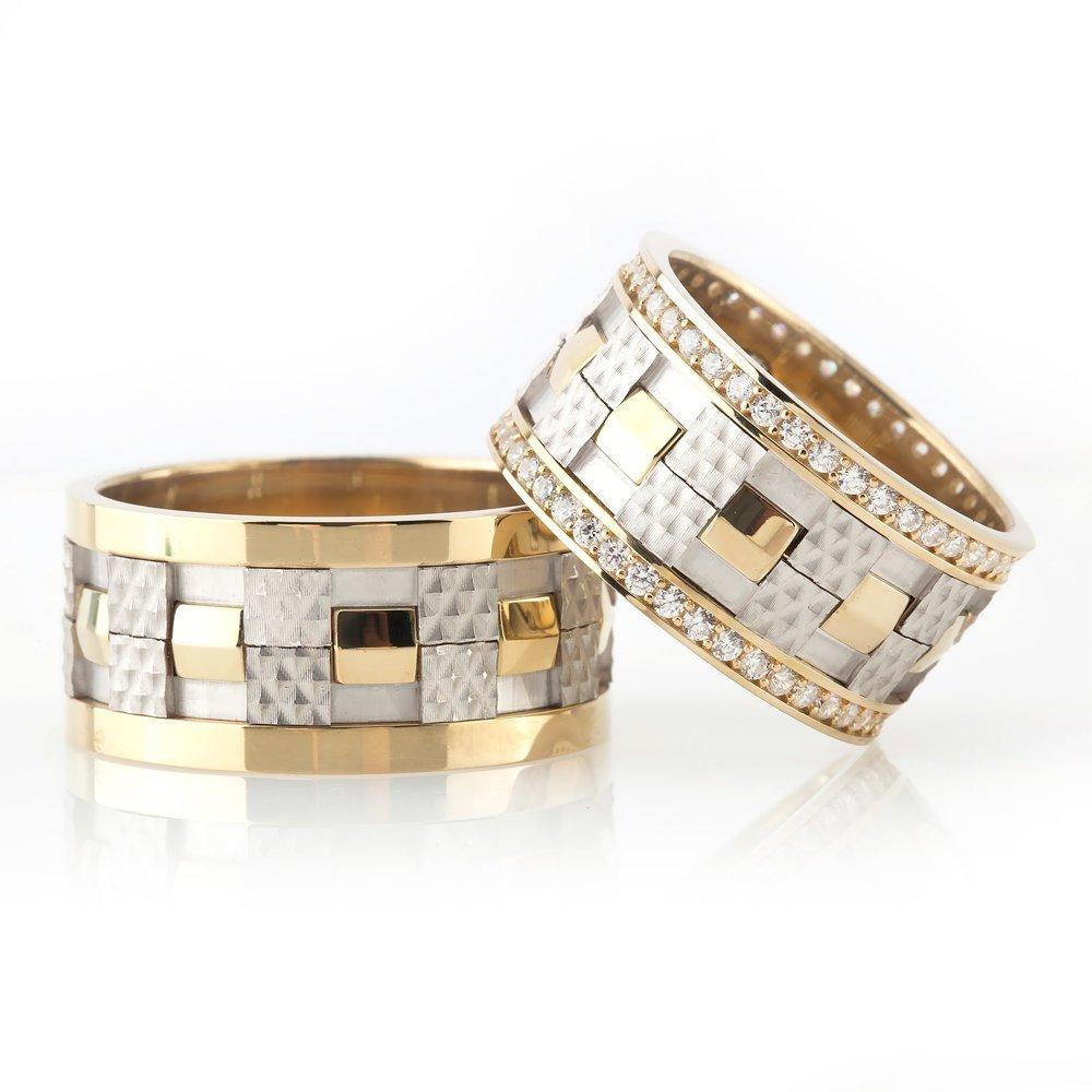 Modern Damalı Tasarım Gri-Gold Renk 925 Ayar Gümüş Çift Alyans