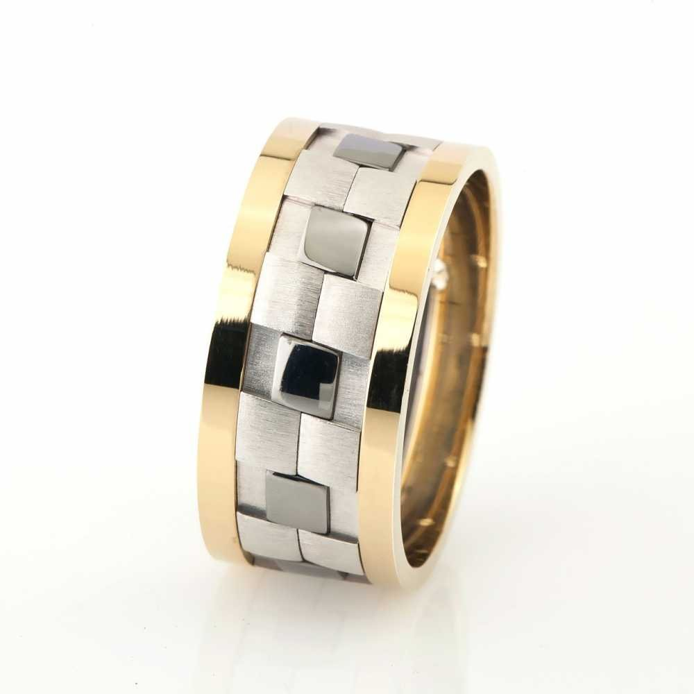 Klasik Damalı Tasarım Gri-Gold Renk 925 Ayar Gümüş Erkek Alyans