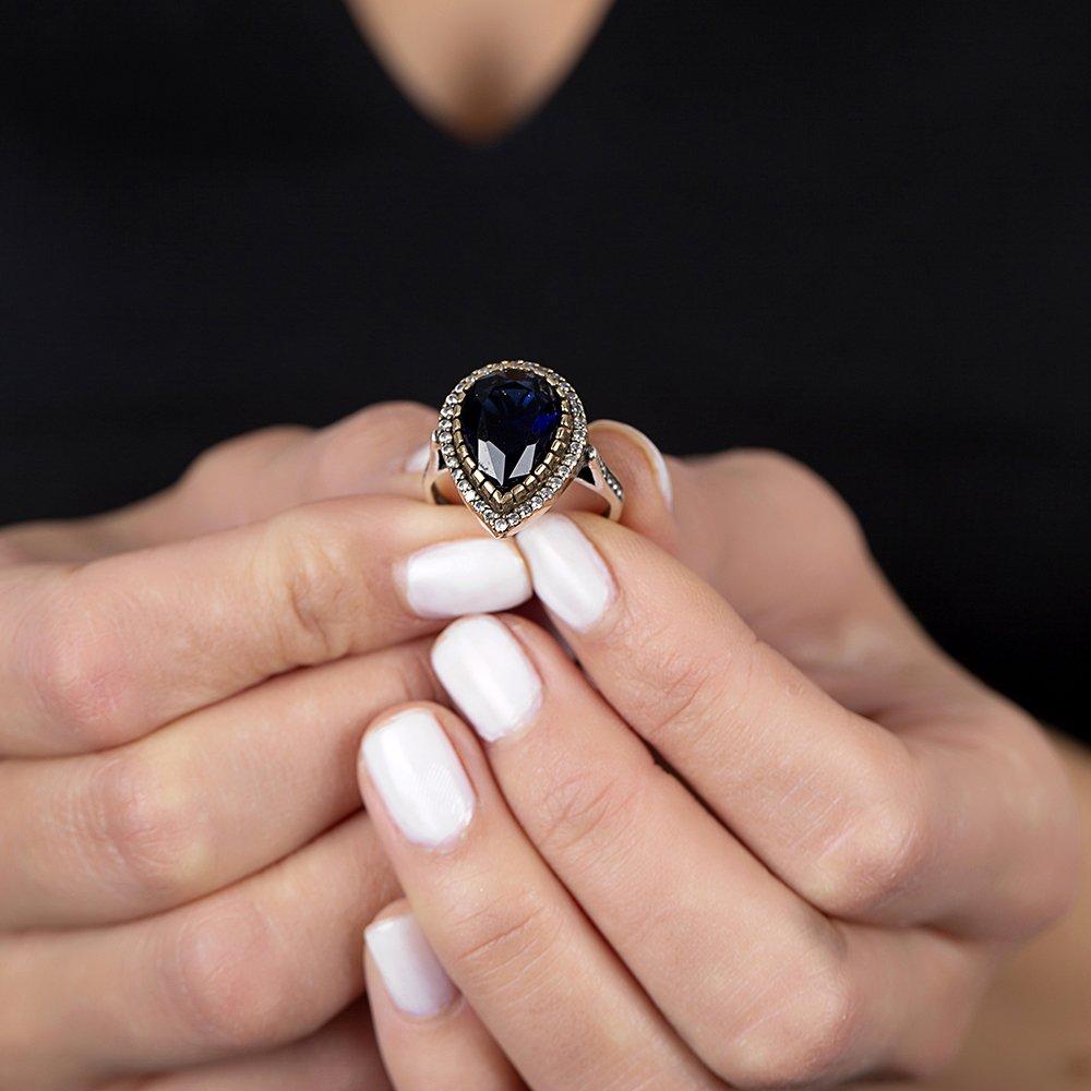 925 Ayar Gümüş Zirkon ve Mavi Ruby Taşlı Damla Tasarım Otantik Bayan Yüzük