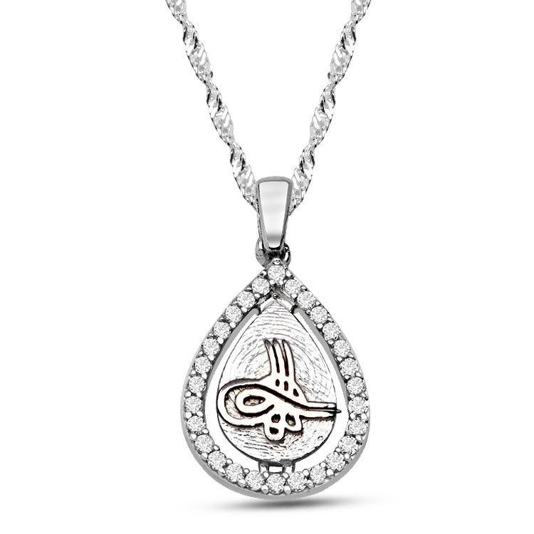 925 Ayar Gümüş Damla Model Tuğra Kolye (PTK0001)