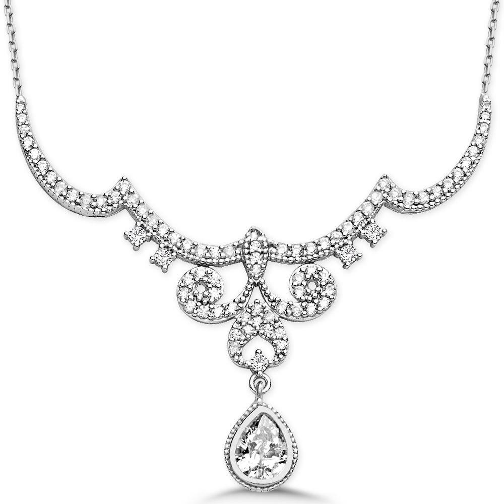 925 Ayar Gümüş Damla Zirkon Taşlı Kraliçe Gerdanlık