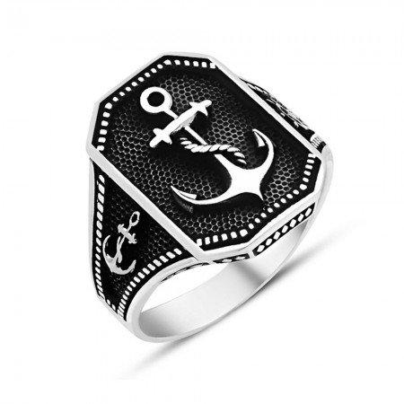 925 Ayar Gümüş Denizci Yüzüğü - Thumbnail