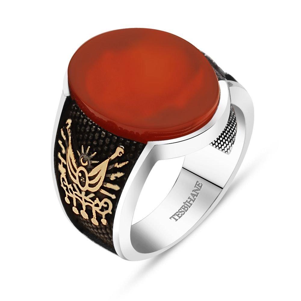 925 Ayar Gümüş Devlet Armalı Oval Kırmızı Akik Taşlı Yüzük