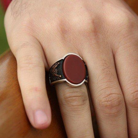 925 Ayar Gümüş Devlet Armalı Oval Kırmızı Akik Taşlı Yüzük - Thumbnail