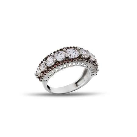 925 Ayar Gümüş Dokuz Taş Yüzük (model 3) - Thumbnail