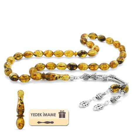 925 Ayar Gümüş Double Püsküllü Arpa Kesim Açık Sarı Damla Kehribar Tesbih - Thumbnail