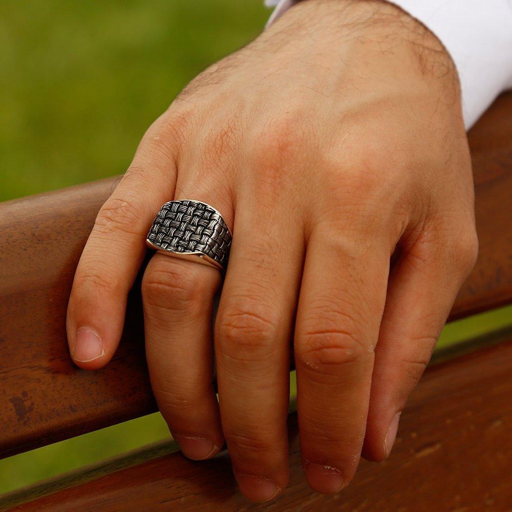 Sentetik Taşlı 925 Ayar Gümüş Düğüm Yüzük