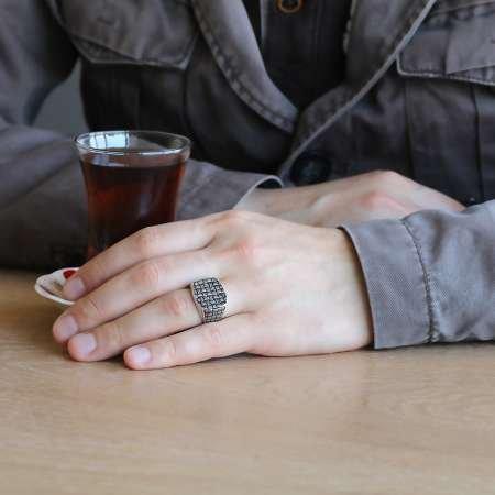 Sentetik Taşlı 925 Ayar Gümüş Düğüm Yüzük - Thumbnail