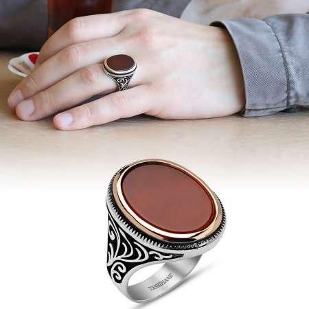 Oval Kırmızı Akik Taşlı 925 Ayar Gümüş Erkek Yüzük - Thumbnail