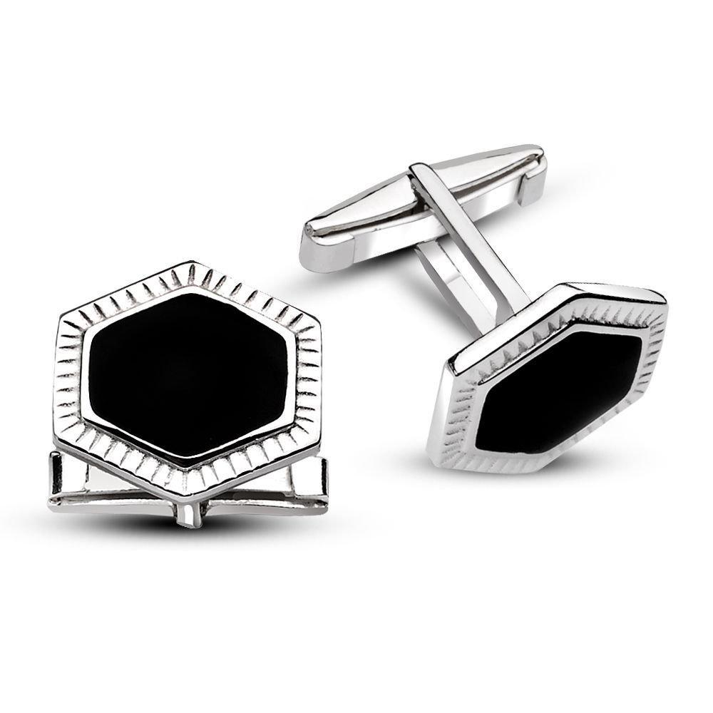 925 Ayar Gümüş Düz Siyah Mineli Kol Düğmesi