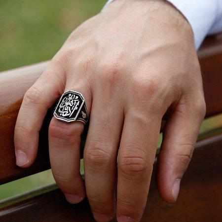 925 Ayar Gümüş Edeb Ya Hu Model Yüzük - Thumbnail