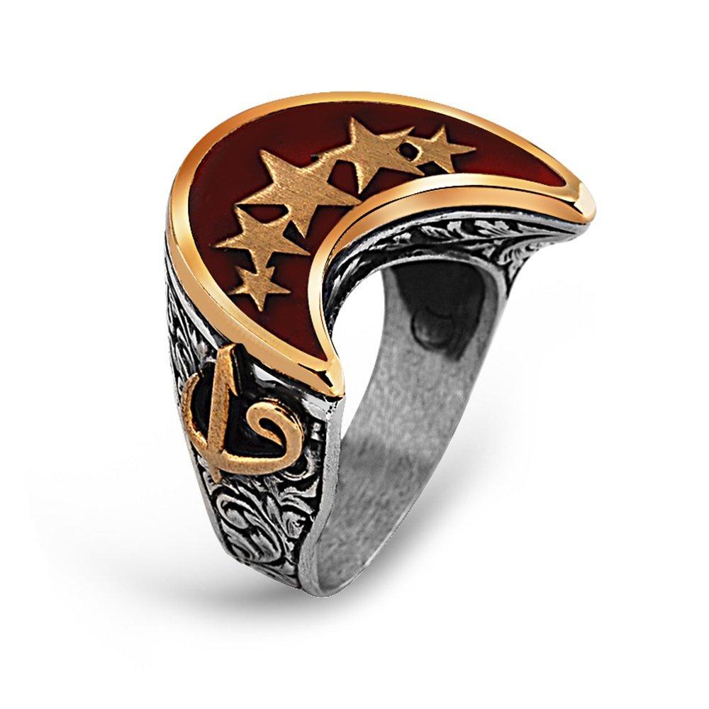 925 Ayar Gümüş Elif Vav Detay Yıldız İşlemeli Hilal Yüzük
