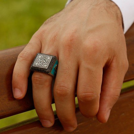 925 Ayar Gümüş Elif Vav Detaylı Gül İşlemeli Yüzük (Model-2) - Thumbnail
