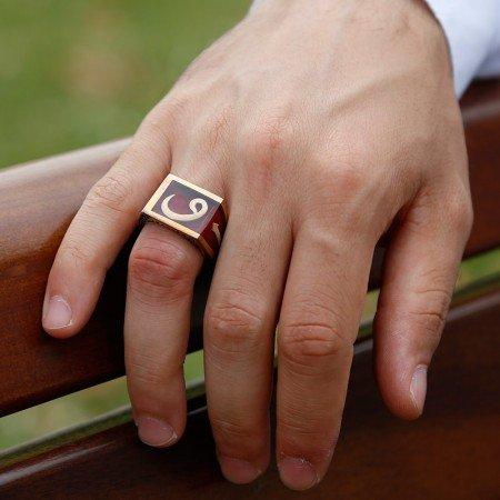 925 Ayar Gümüş Elif Vav Model Kırmzı Mineli Yüzük - Thumbnail