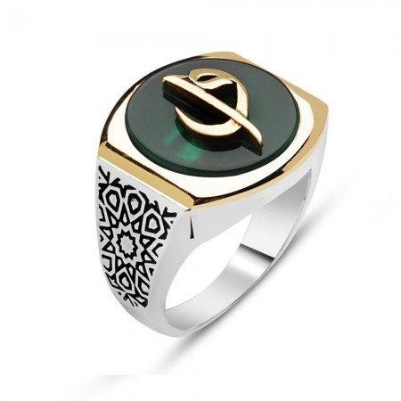925 Ayar Gümüş Elif Vav Model Yeşil Akik Taşlı Yüzük - Thumbnail