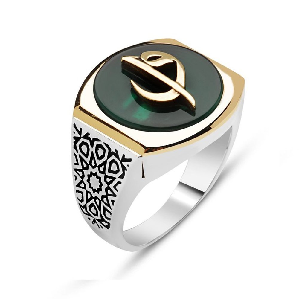 925 Ayar Gümüş Elif Vav Model Yeşil Akik Taşlı Yüzük