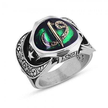 925 Ayar Gümüş Elif Vav Model Yeşil Mineli Yüzük - Thumbnail