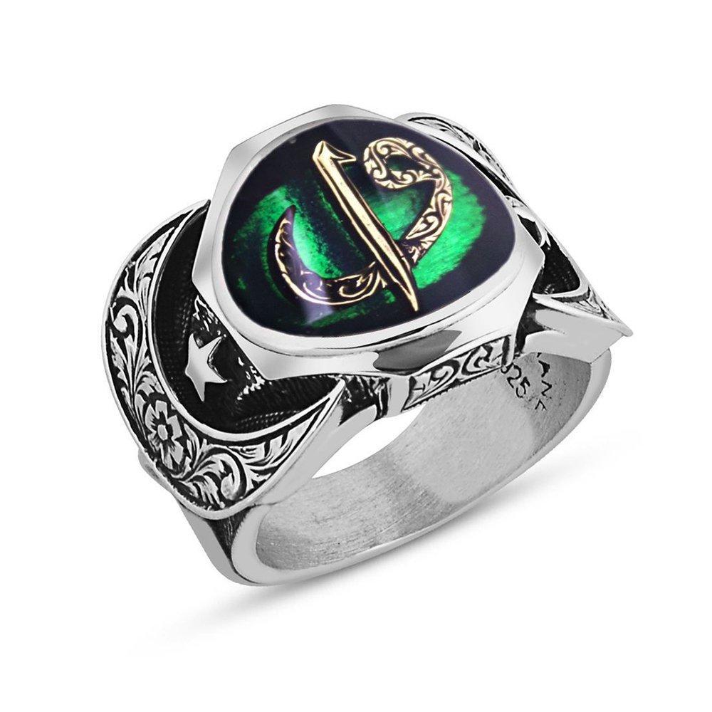925 Ayar Gümüş Elif Vav Model Yeşil Mineli Yüzük
