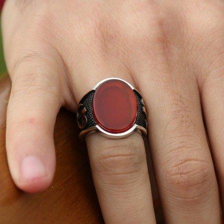 925 Ayar Gümüş Elif Vav Oval Kırmızı Akik Taşlı Yüzük - Thumbnail
