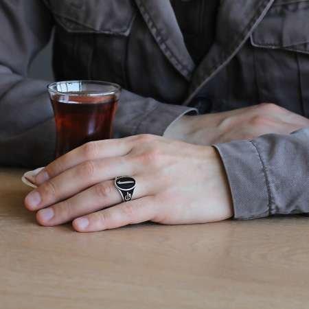 Elif Vav Yazılı Elif Motifli 925 Ayar Gümüş Erkek Yüzük - Thumbnail