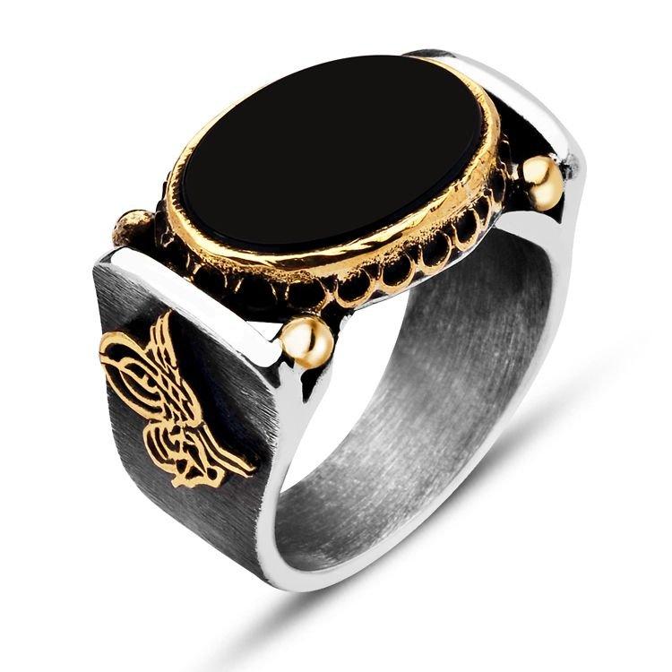 925 Ayar Gümüş Elişi Oniks Taşlı Tuğralı Yüzük