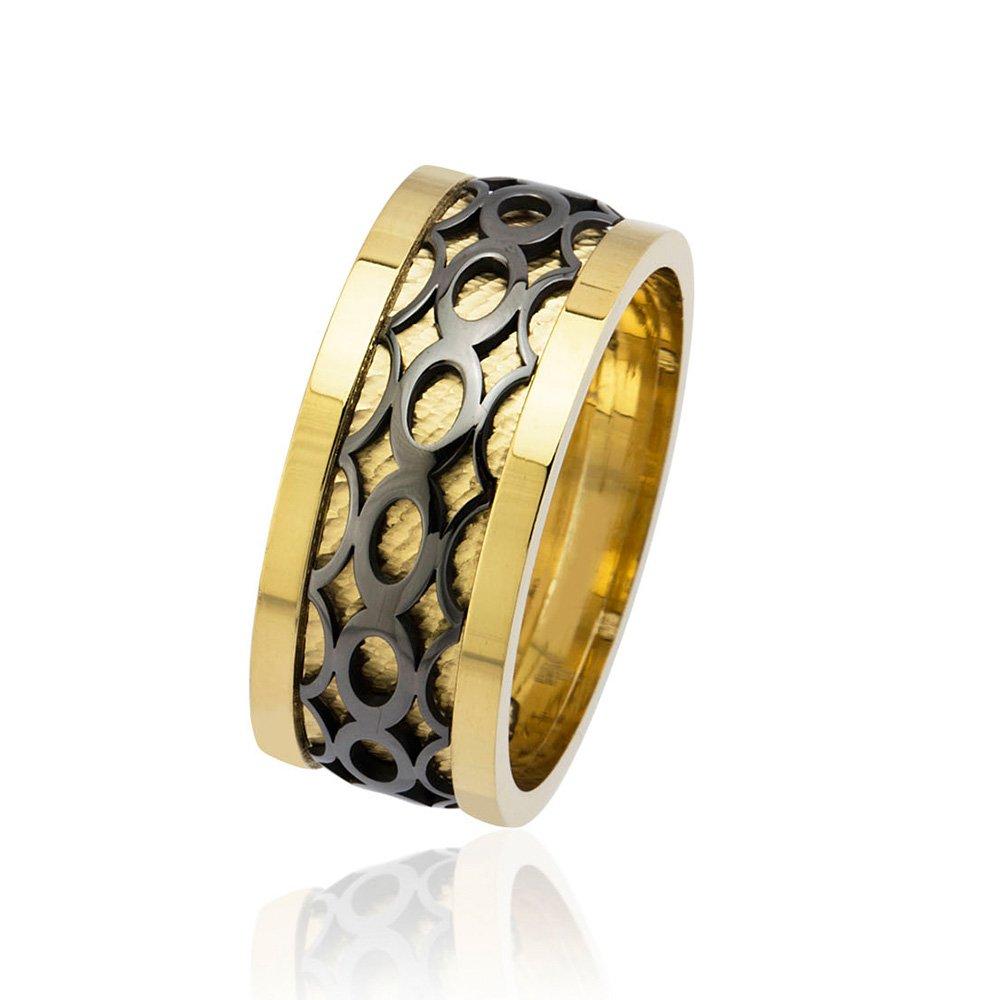 Sonsuzluk Desen Motifli Gold-Siyah Renk 925 Ayar Gümüş Erkek Alyans