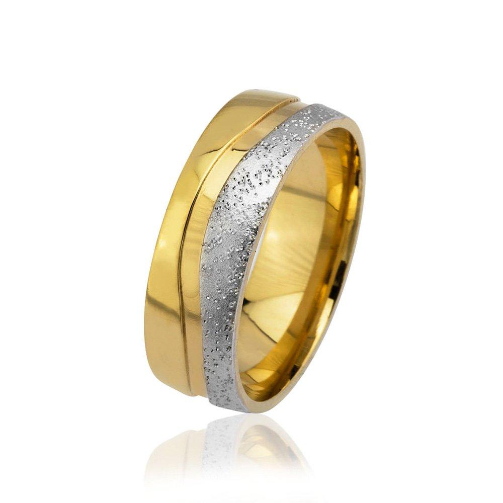 Su Yolu Tasarım Gold-Gri Renk 925 Ayar Gümüş Erkek Alyans