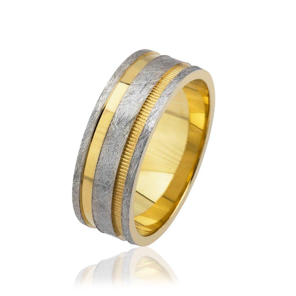 Üç Şerit Tasarım Gold-Gri Renk 925 Ayar Gümüş Erkek Alyans
