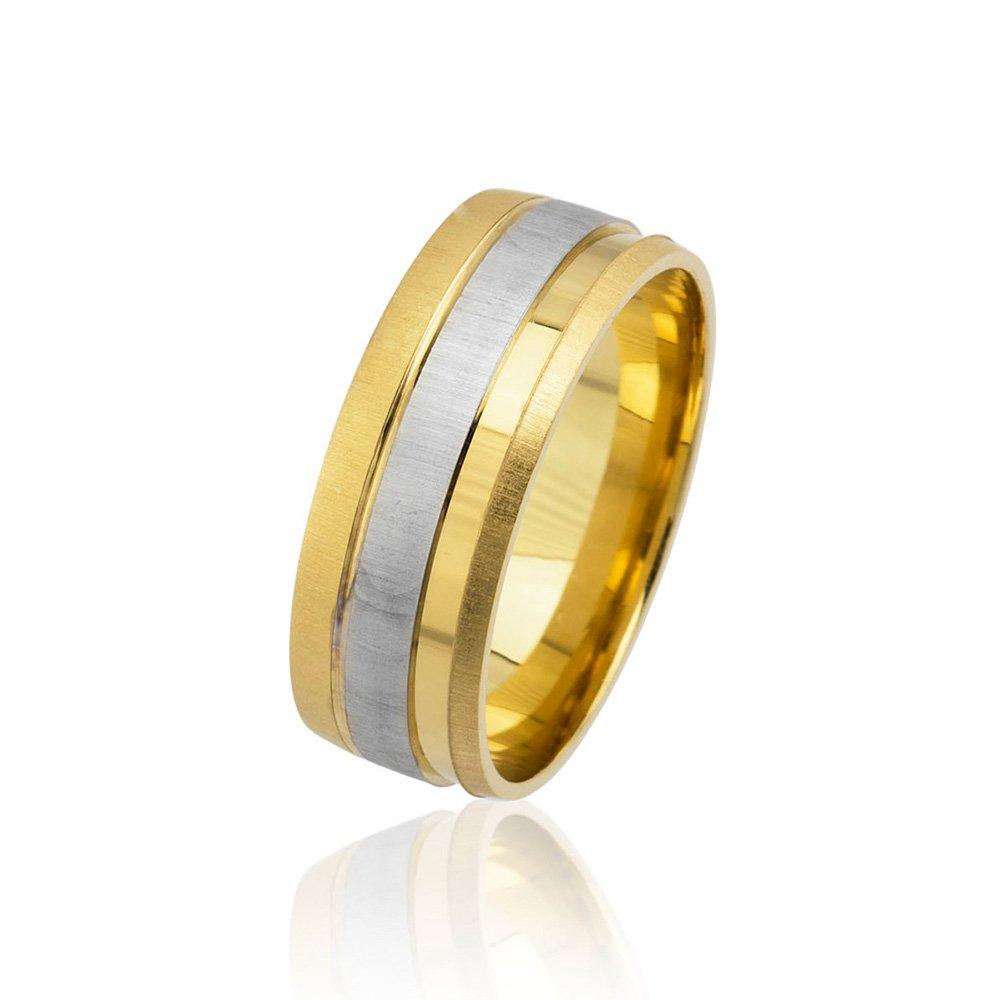 Tek Şerit Tasarım Gold-Gri Renk 925 Ayar Gümüş Erkek Alyans