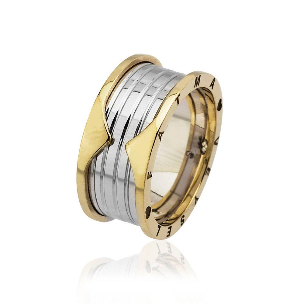 İsim Yazılı Özel Tasarım Gold-Gri Renk 925 Ayar Gümüş Erkek Alyans