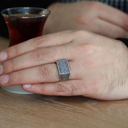 Halat İşlemeli 925 Ayar Gümüş Erkek Yüzük - Thumbnail